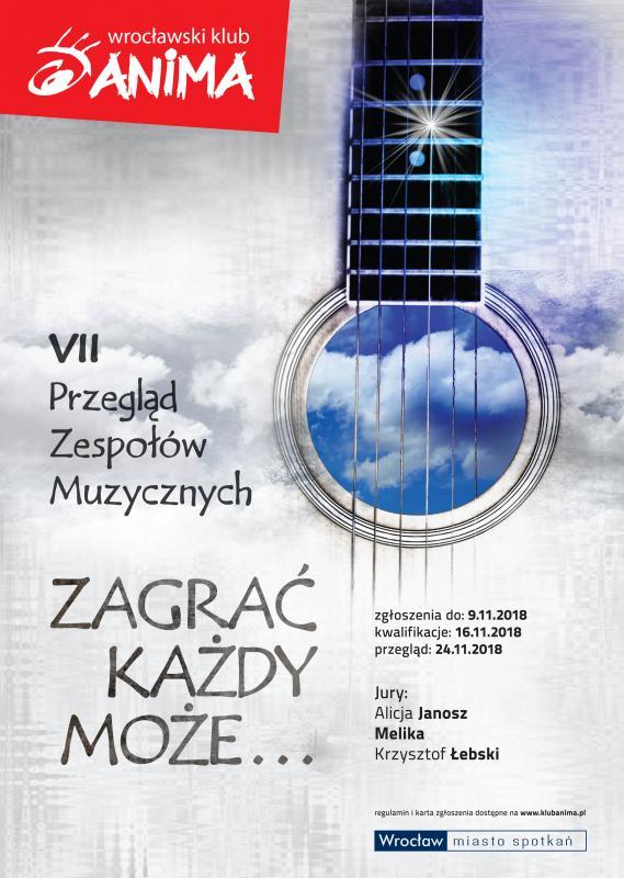 Wrocławski Klub Anima zaprasza amatorskie zespoły muzyczne doudziału wkonkursie